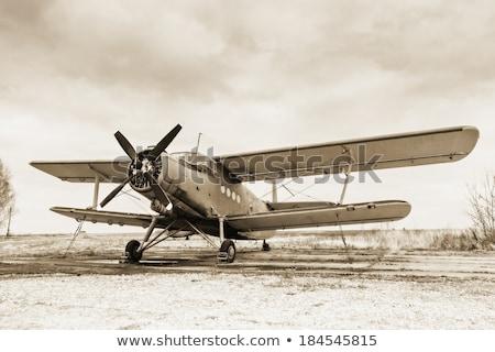 eski · uçak · kokpit · rus · arka · plan · mavi - stok fotoğraf © liolle