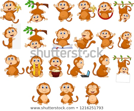 Stock photo: Monkey Cartoon Animal Waving and Pointing