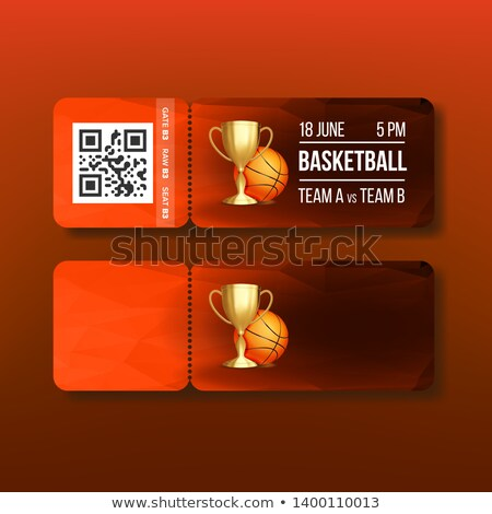 Ticket Tear-off Coupon On Basketball Match Vector Stock photo © pikepicture