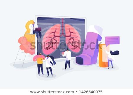 Alérgico hombre sufrimiento asma tos síntoma Foto stock © RAStudio