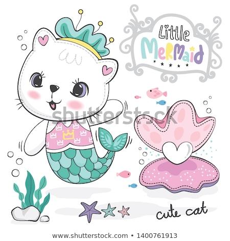 Stockfoto: Zeemeermin · baby · shell · illustratie · cute · meisje