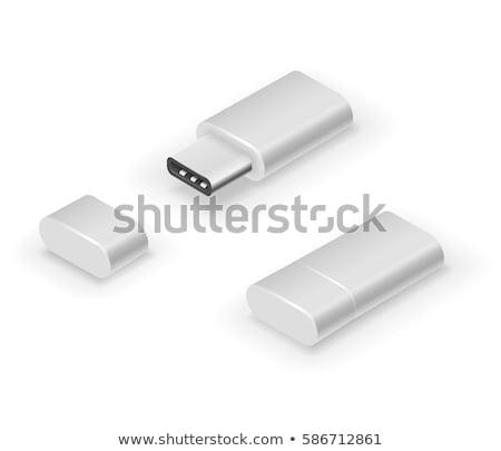 Flash drive odizolowany biały komputera kluczowych cyfrowe Zdjęcia stock © magraphics