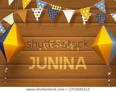 Ilustração festa bandeiras papel lanterna azul Foto stock © articular