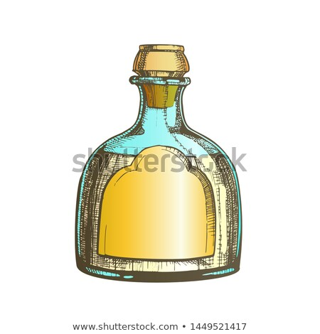 color blown classic mexican tequila glass bottle vector stock photo © pikepicture