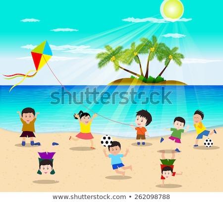 Nyár clipart gyerekek tengerpart clip art szett Stock fotó © ayelet_keshet