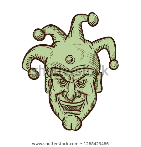Stock photo: Demented Medieval Court Jester Drawing