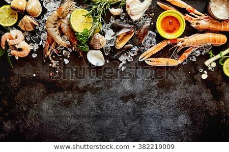 Fraîches fruits de mer herbes épices pierre haut Photo stock © karandaev