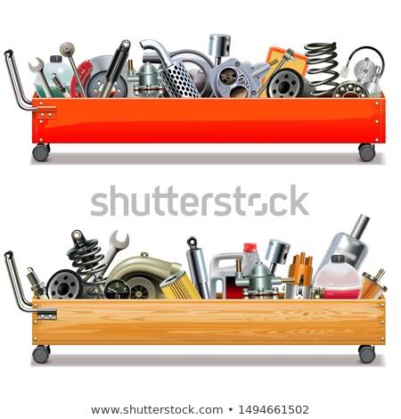 Vector toolbox winkelwagen auto onderdelen geïsoleerd Stockfoto © dashadima