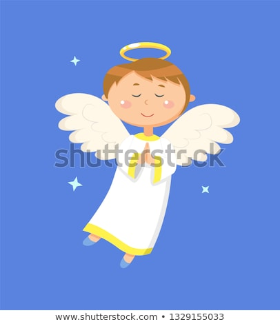 Jongen engel bidden vreedzaam engelachtig Stockfoto © robuart