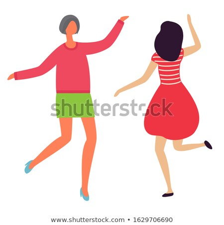 dancing cheerful ladies back front view flat style stock photo © robuart