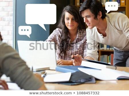 Emberek könyvtár projekt chat buborékok digitális kompozit Stock fotó © wavebreak_media
