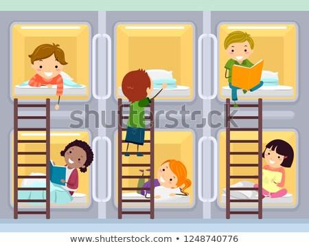 дети капсула номер в отеле иллюстрация отель ночь Сток-фото © lenm