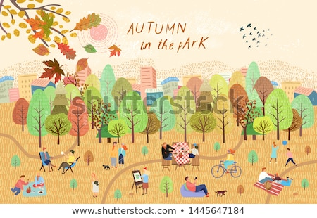 People Walking in Autumn Park with Kid or Bike Stock photo © robuart