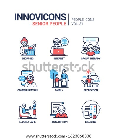 Senior people line design style icons set Stock photo © Decorwithme