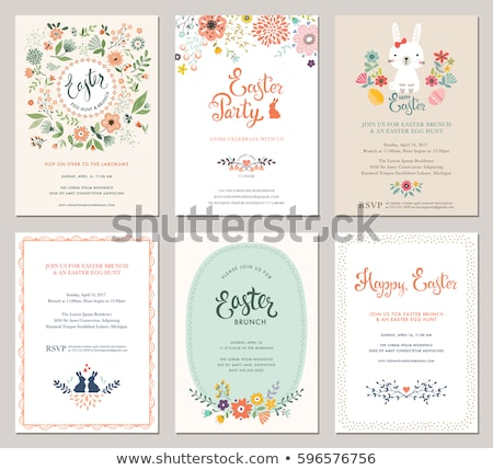 Border template design with Easter bunny and eggs in garden Stock photo © bluering