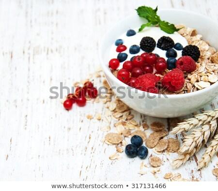 Raspberry yougurt on wooden Stock photo © olira