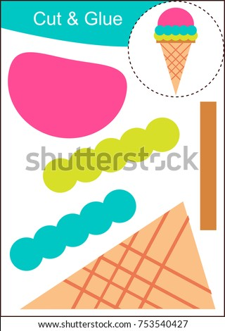 Cut and Paste Worksheet - Ice Cream Stock photo © natali_brill