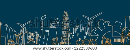 Manufacturing concept - line design style banners set Stock photo © Decorwithme
