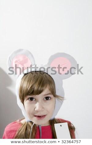 little girl wearing mouse`s ears laugh  Stock photo © dacasdo