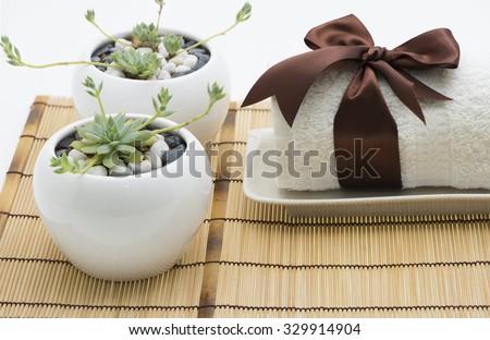 Two small round stone on towel Stock photo © pzaxe