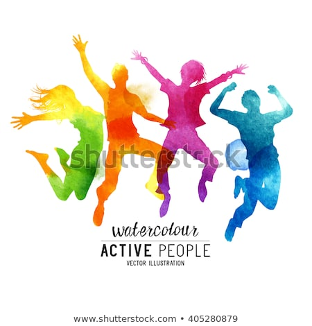Healthy Young Active Dance Jumping People Stockfoto © solarseven