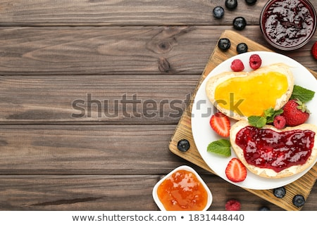 Foto stock: Tasty Breackfast With Toast And Marmelade On Table