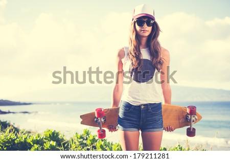 mooie · jonge · vrouw · Rood · bikini · water · permanente - stockfoto © acidgrey