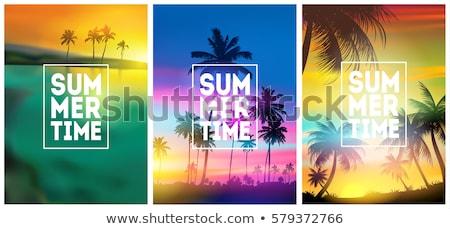 Summer Beach Grunge Poster Background With Palms Stok fotoğraf © MarySan