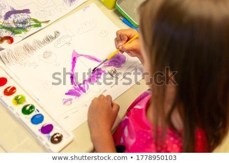 çocuklar · çizim · anaokulu · öğretmen · yardım · kâğıt - stok fotoğraf © adam121