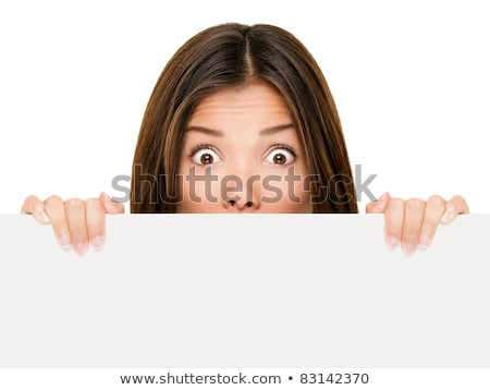 Surprises Asian woman showing blank space Stock photo © szefei