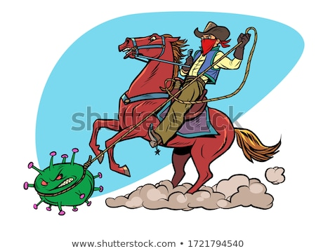 cowboy · paardrijden · paard · illustratie · cactus - stockfoto © adrenalina
