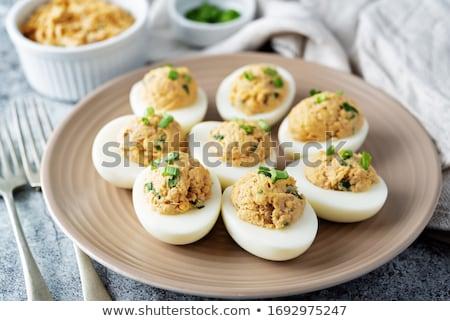фаршированный яйца желток жареный лук Сток-фото © Makse