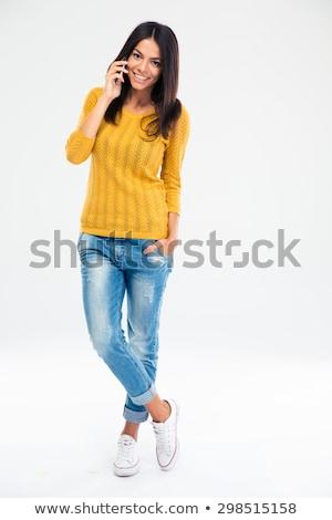 portre · mutlu · kadın · konuşma · telefon · ev - stok fotoğraf © deandrobot