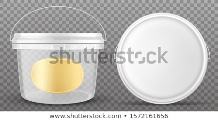 White plastic container with yellow label and white lid. Stock photo © JFJacobsz