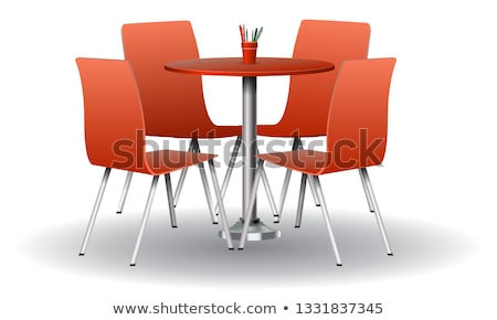 Glass table and a red chair Stock photo © jrstock