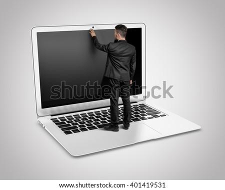 Huge man with small businessman standing at front concept Stock photo © ra2studio