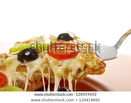 tomaat · mozzarella · aubergine · basilicum · pizza · voedsel - stockfoto © digifoodstock