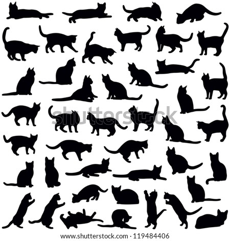 cat collection vector silhouette stock photo © istanbul2009