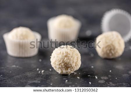 white chocolate coconut truffles stock photo © digifoodstock