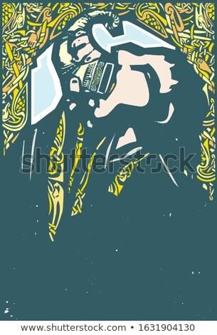 Uczta króla królowej starożytnych skandynawia Zdjęcia stock © ensiferrum