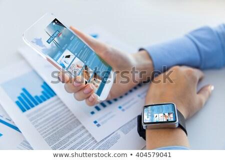 Womans hand showing smartwatch Stock photo © wavebreak_media