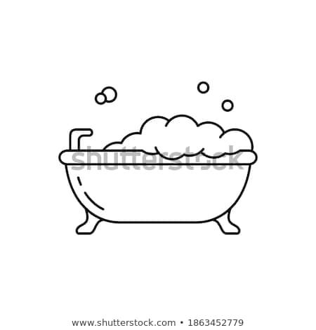 Fehér ovális fürdőkád ikon felső kilátás Stock fotó © robuart