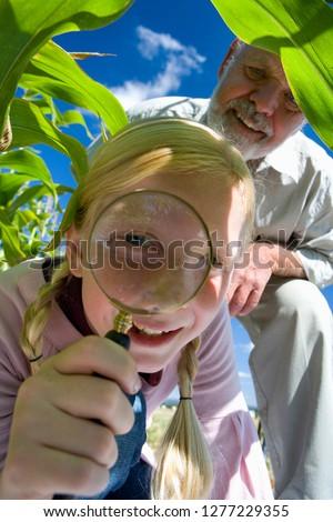 Supérieurs homme regarder domaine verre bonheur Photo stock © IS2