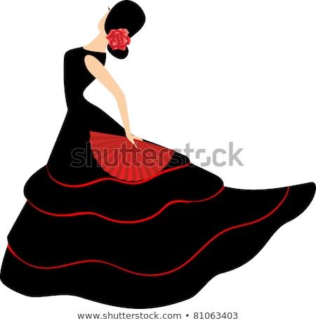 Flamenko kız dansçılar örnek gül dans Stok fotoğraf © adrenalina
