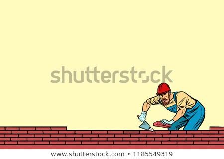 Budowniczy cegły kamieniarstwo poniżej pop art retro Zdjęcia stock © studiostoks