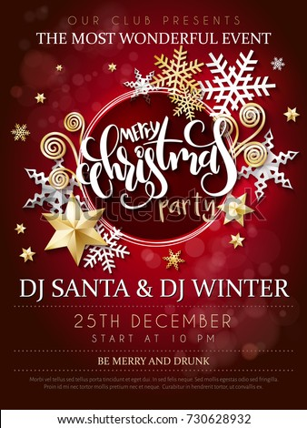 Christmas Party Flyer Illustration with Typography Lettering and Holiday Elements on Winter Landscap Stock photo © articular