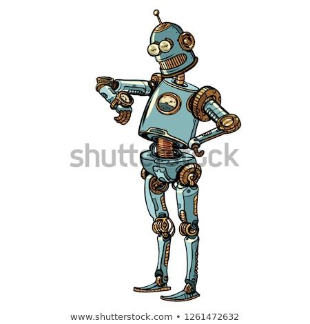 Robot külső karóra késő időbeosztás pop art Stock fotó © studiostoks