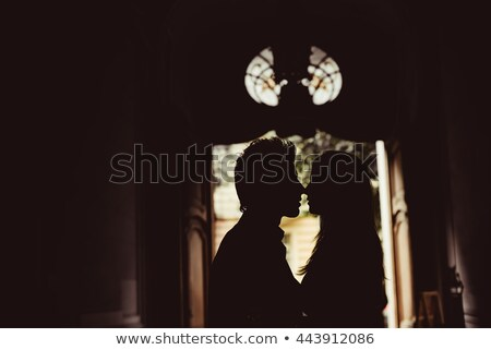 Güzel gelin siluet pencere siyah beyaz fotoğraf Stok fotoğraf © ruslanshramko