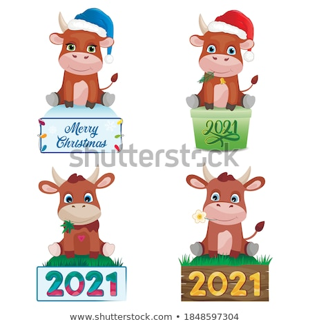 merry christmas and happy holidays children set stock photo © robuart