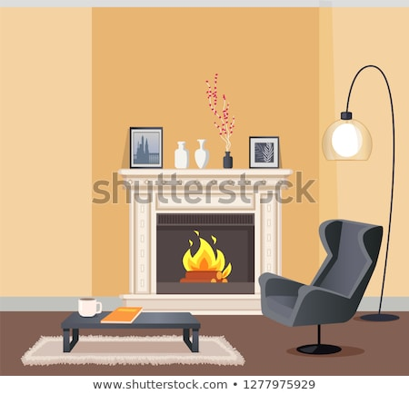 Room in Corporeal Color with Fireplace Vector Stock photo © robuart